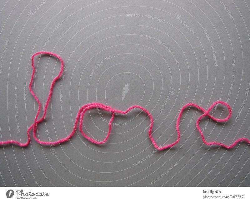 love line Wolle Schnur Schriftzeichen Kommunizieren grau rosa Gefühle Glück Liebe Verliebtheit Romantik Kreativität Wort Studioaufnahme Menschenleer