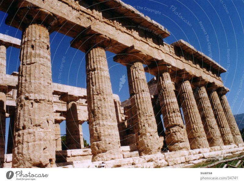 Die Tempel von Paestum 2 Italien Griechen Ferien & Urlaub & Reisen Europa Licht Kultur historisch Gebäude Architektur Säule Römerberg Himmel