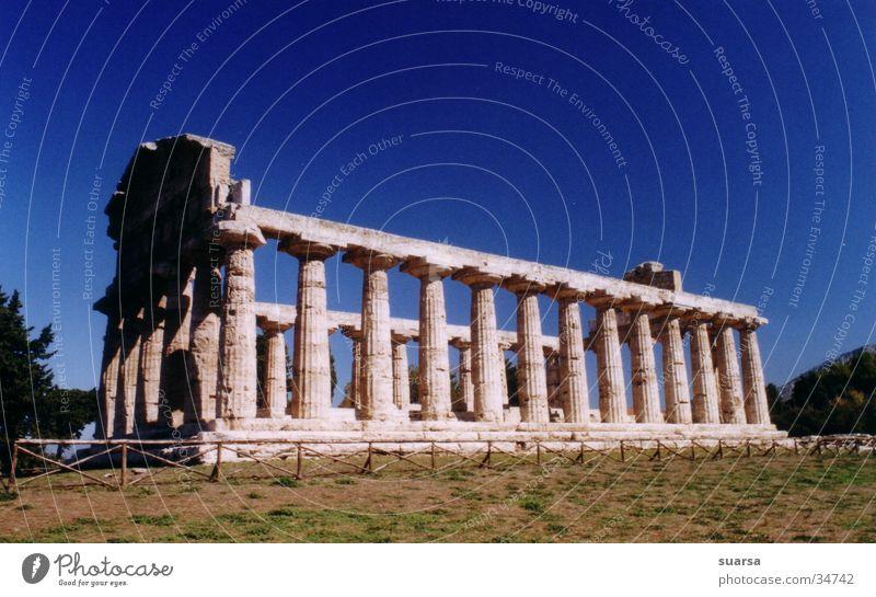 Die Tempel von Paestum 1 Italien Griechen Ferien & Urlaub & Reisen Europa Licht Kultur Architektur Säule Römerberg