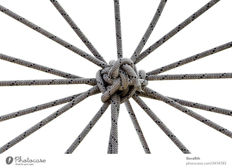 viele Seile und ein großer Knoten aus nächster Nähe abstrakt abstrakter Hintergrund Zugehörigkeit Anhang Zusammenhalt schwarz Kabel Nahaufnahme Kombination