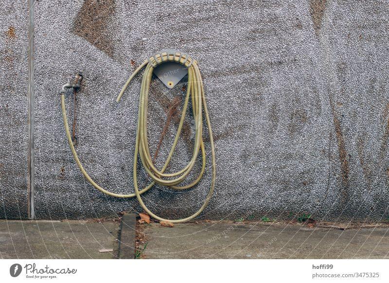 Wasserhahn mit Wasserschlauch auf Halterung an einer Wand Schlauch Gartenschlauch gelb nass Werkstatt Arbeitsgeräte Sauberkeit Reinigen Dienstleistungsgewerbe