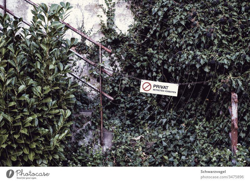 Privat - betreten verboten / ein gesperrter Durchgang Verbot Verbotsschild Hinweisschild Absperrung zugewachsen verwildert privat Hindernis