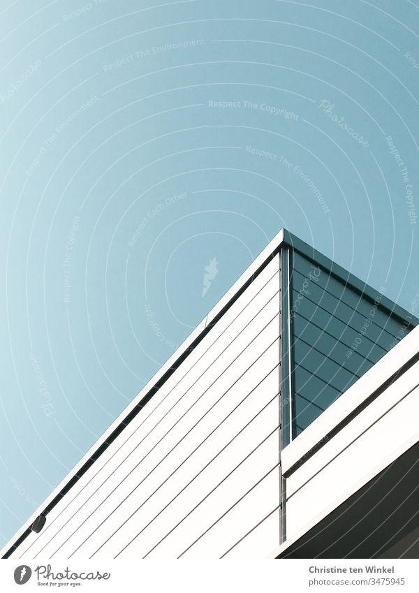 Detailaufnahme einer Fassadenverkleidung aus der Froschperspektive modern Halle Gebäude Gebäudeteil Linien ästhetisch Ordnungsliebe eckig urban Perspektive