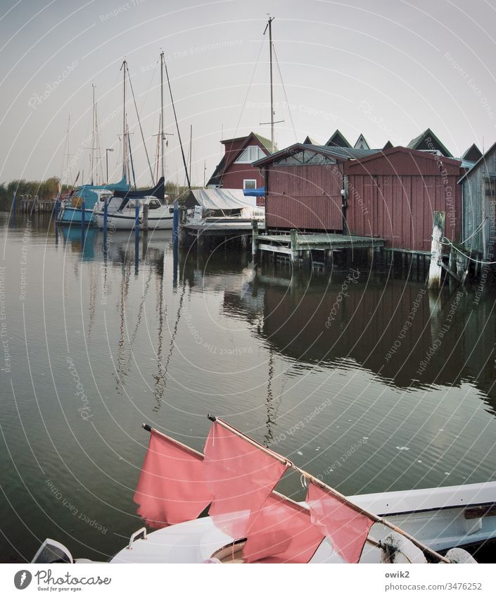 Ahrenshoop, Althagen Hafen Außenaufnahme Hamburg Himmel Bootshäuser einfach still Idylle friedlich Fahnen Signal Boje Boote Segelboote Reflexion & Spiegelung