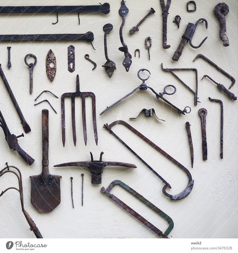 Werkzeugkasten Wand Säge Spaten Gabel Zinken Utensilien Metall Dinge hängen Sammelsurium Sammlung historisch Beschläge Detailaufnahme Arbeit & Erwerbstätigkeit