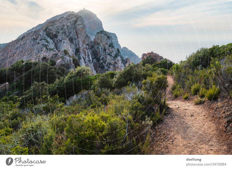 Idyllischer Wanderweg im Grünen mit Blick auf einen imposanten Berg, der über den Horizont ragt Abend entfernung stark schön Wellness entdecken hell Licht Tag