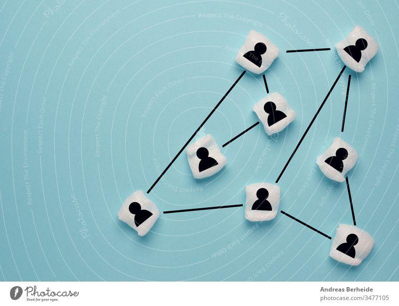 Abstraktes Teamwork-, Netzwerk- und Gemeinschaftskonzept auf blue Markt Sehvermögen weltweit Banking Elektronischer Geschäftsverkehr Ressourcen Partner Wachstum