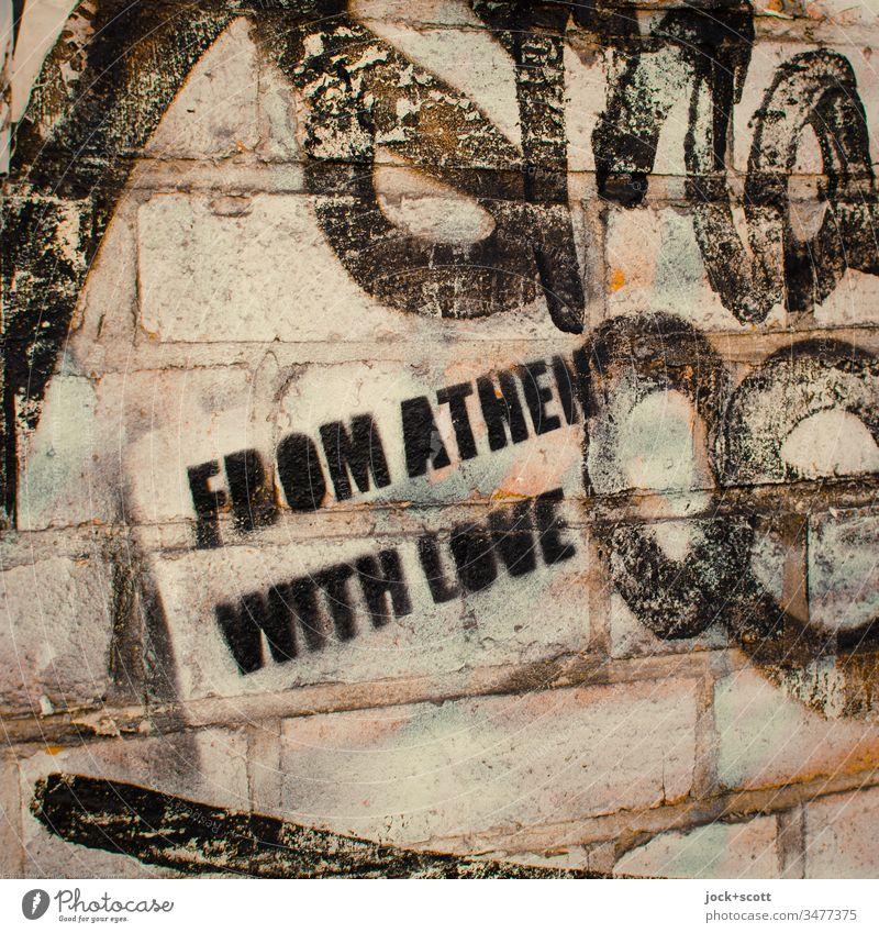 Von Athen mit Liebe Subkultur Schablone Farbfoto abstrakt Nahaufnahme Außenaufnahme Kreativität Inspiration Stimmung Kontrast Totale stencil Straßenkunst Stil