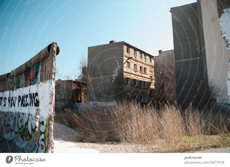 Geschichte einer Mauer Subkultur Straßenkunst Schriftzeichen Typographie Menschenleer Wort Kontrast Farbfoto Außenaufnahme authentisch Zahn der Zeit