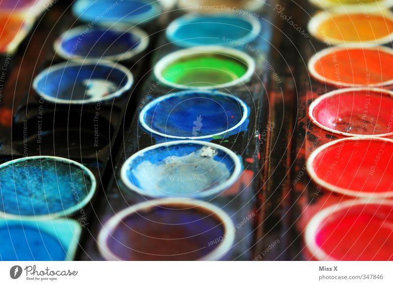 Bunt Freizeit & Hobby Kunst dreckig mehrfarbig Farbe Farbkasten Wasserfarbe Aquarell Farbpalette Farbstoff Farbenmeer regenbogenfarben blau Kreativität malen