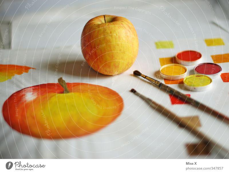 Nachmalen Lebensmittel Apfel Bioprodukte Freizeit & Hobby Kunst Künstler Maler Kunstwerk Gemälde zeichnen lecker süß gelb orange rot Kreativität Farbstoff
