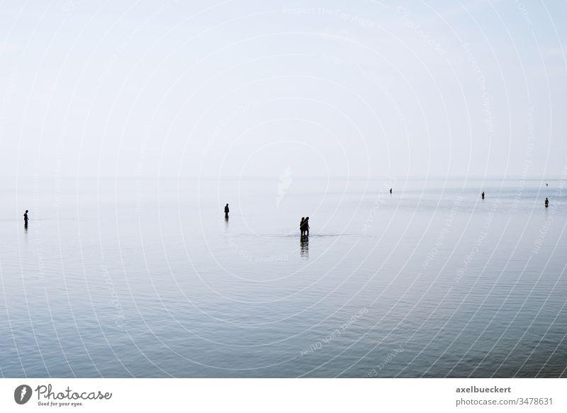 Silhouetten von Menschen, die durch flaches Wasser gehen und waten Meer Nordsee Ebbe Niedrigwasser Gezeiten seicht spazierengehen Menschengruppe Schatten