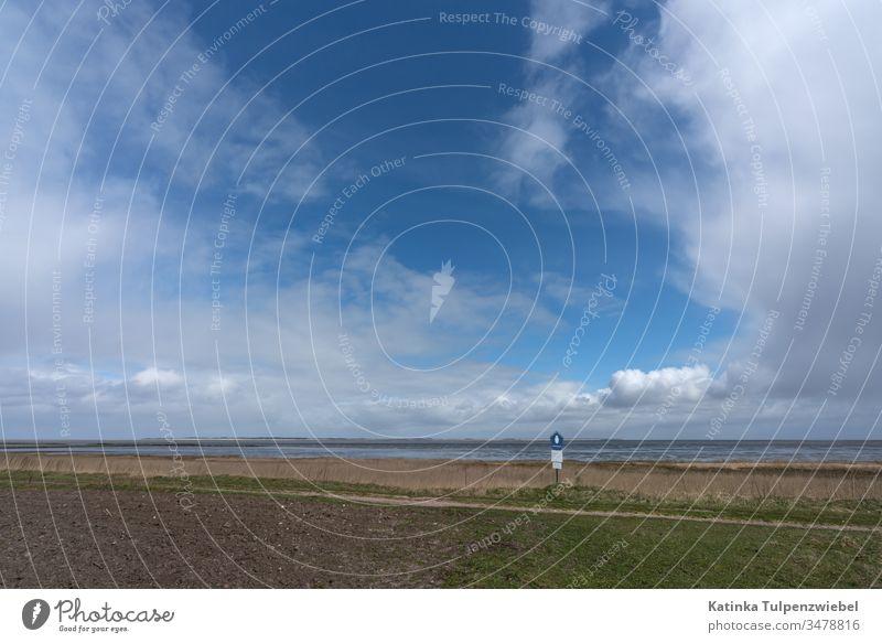 Blick von der Nordseeinsel Amrum auf das Wattenmeer Außenaufnahme Ferien & Urlaub & Reisen Farbfoto Ferne Abenteuer Freiheit Kontrast Wetter Klima