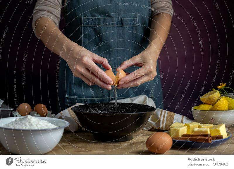 Nutzpflanzenfrau bricht Ei in Schale Frau Pause Schalen & Schüsseln Koch Gebäck frisch zerbrechlich Eierschale Bestandteil Lebensmittel Küche Rezept organisch