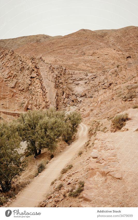 Wüstenlandschaft in gebirgigem Gelände mit Straße Berge u. Gebirge wüst Landschaft trocknen Tal Natur Afrika Marokko reisen Tourismus leer Kurve Route Sand