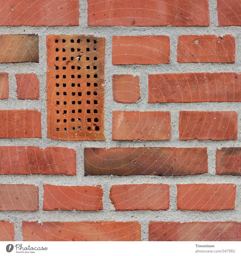 Untermieter | Ausdrücklich willkommen! rot Wand Mauer Linie ästhetisch einfach Backstein Loch eckig Fuge Einfamilienhaus Leerstand hochkant