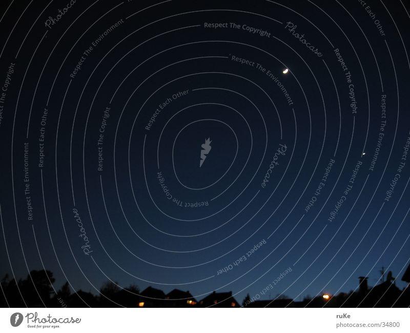 moonrise Himmel blau Haus Stern Nachthimmel Mond Nacht Sternenhimmel