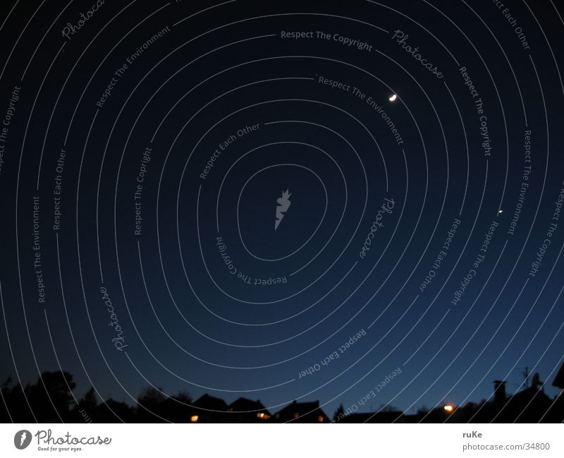 moonrise Nacht Nachthimmel Haus Himmel Abend Mond blau Sternenhimmel