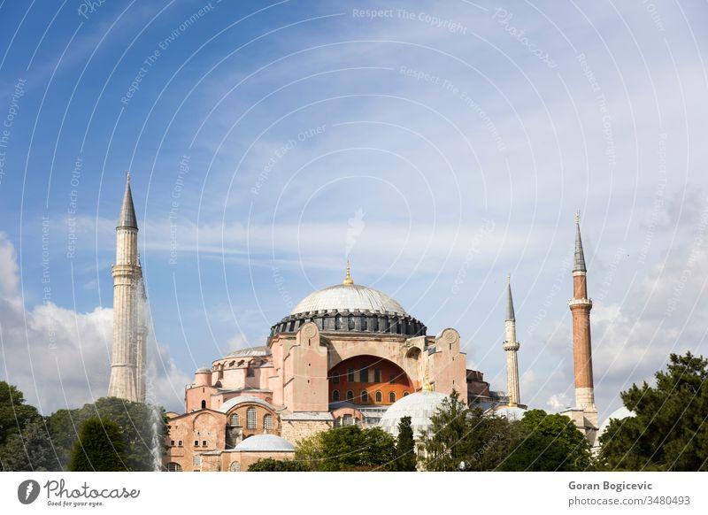 Kuppeln und Minarette der Hagia Sophia in der Altstadt von Istanbul, Türkei Basilika Dom antik Architektur Gebäude Kultur Sultanahmet aya Außenseite Tag