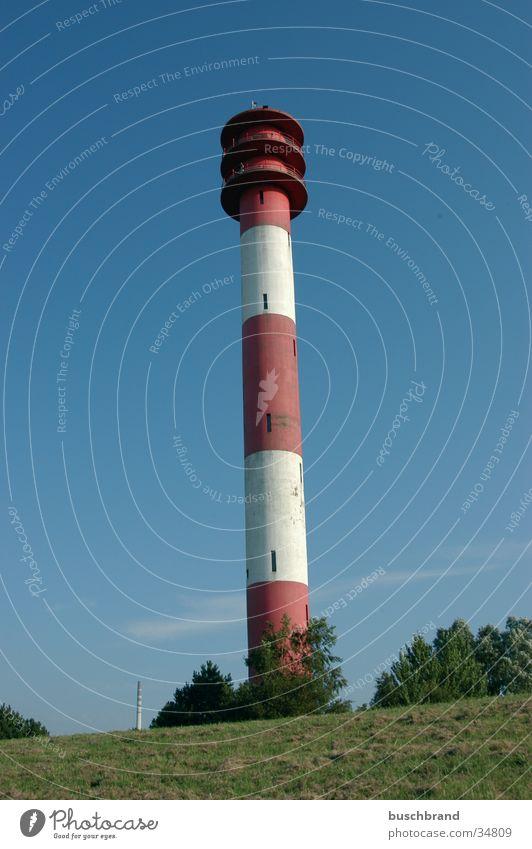 Leuchtturm Ferien & Urlaub & Reisen Tourismus Ausflug Ferne Freiheit Sommer Meer Landschaft Himmel Wolkenloser Himmel Sonne Schönes Wetter Küste Nordsee