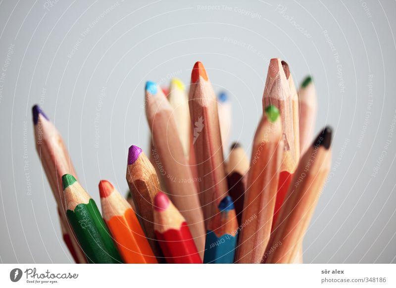 Vielfalt Bildung Kindergarten lernen Medienbranche Werbebranche Team Farbstift Schreibstift Schreibwaren zeichnen blau mehrfarbig grün violett orange rot