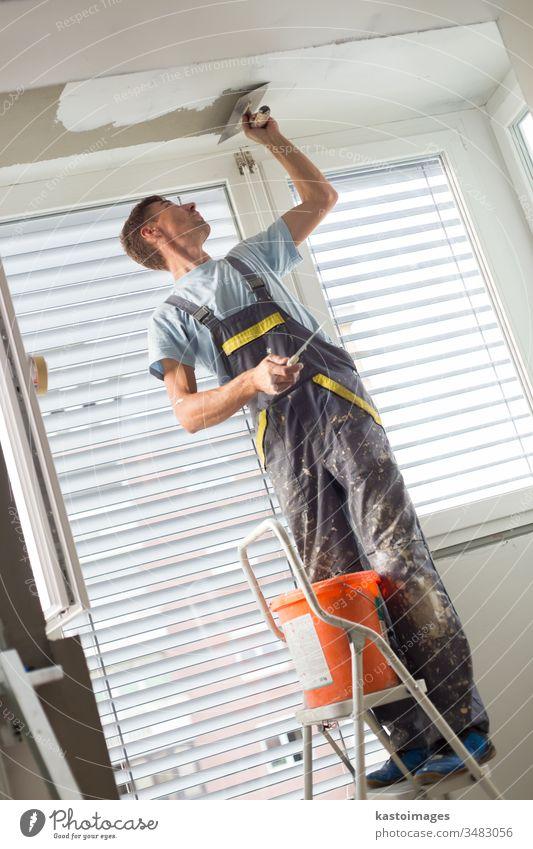 Gipser, der Innenwände und -decken renoviert. Abschlussarbeiten. Konstruktion Verputzen Gebäude ineinander greifen Beruf verputzen Wand Gerät Reparatur Arbeiter
