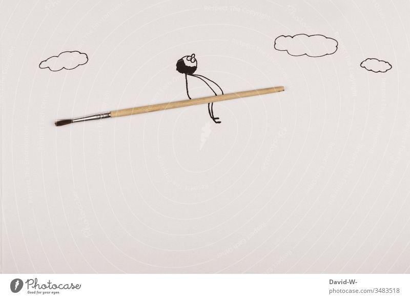 Strichmännchen fliegt auf einem Pinsel - Konzept / Schule | Kinder | malen Zeichnung Wasserfarbe Mann witzig Idee fligen Besen lustig Hexe Hexer fantasie