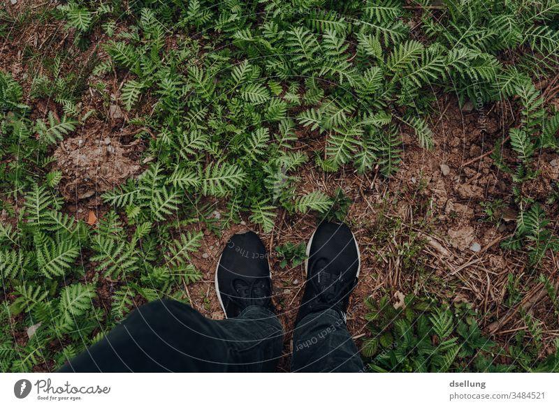 Mit beiden Füßen auf der Erde schwarz Wanderung stayhome Einsamkeit stumm stehen isolation frei Aktion Tourist Körperteile Beine gutes Wetter ländlich Tourismus
