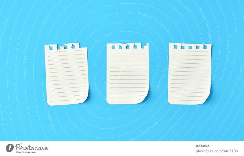 leere weiße Blätter in einer aus dem Notizblock herausgerissenen Zeile auf blauem Hintergrund oben blanko Buch Business Konzept Textfreiraum Tagebuch