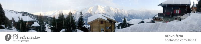 Winter Panorama Dämmerung Panorama (Aussicht) Skigebiet Bergdorf Berge u. Gebirge Schnee Hütte bettmeralp Alpen hochalpin groß Panorama (Bildformat)