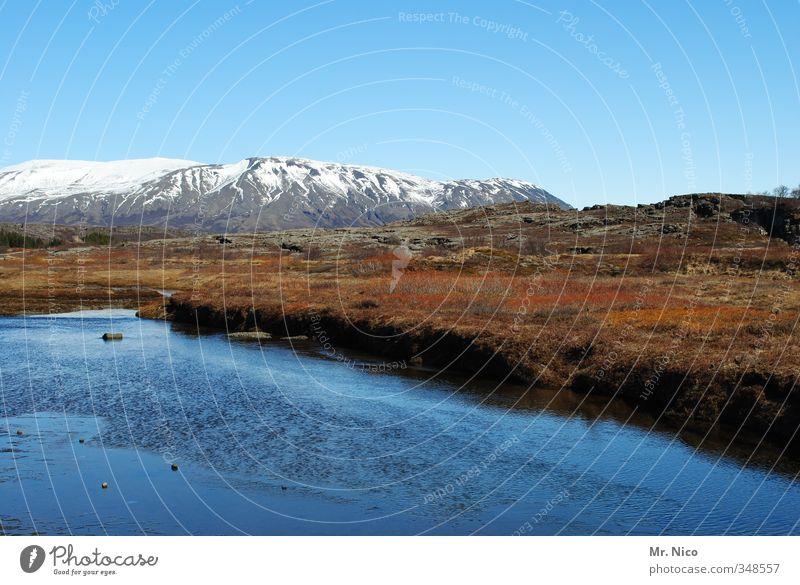 weites land Umwelt Natur Landschaft Urelemente Wasser Wolkenloser Himmel Klima Klimawandel Schönes Wetter Sträucher Moos Berge u. Gebirge Gipfel