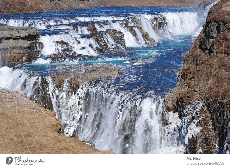 cool water Umwelt Natur Landschaft Urelemente Klima Fluss Wasserfall Coolness frisch nass blau Island Ferien & Urlaub & Reisen wild Felsen Kraft Abenteuer