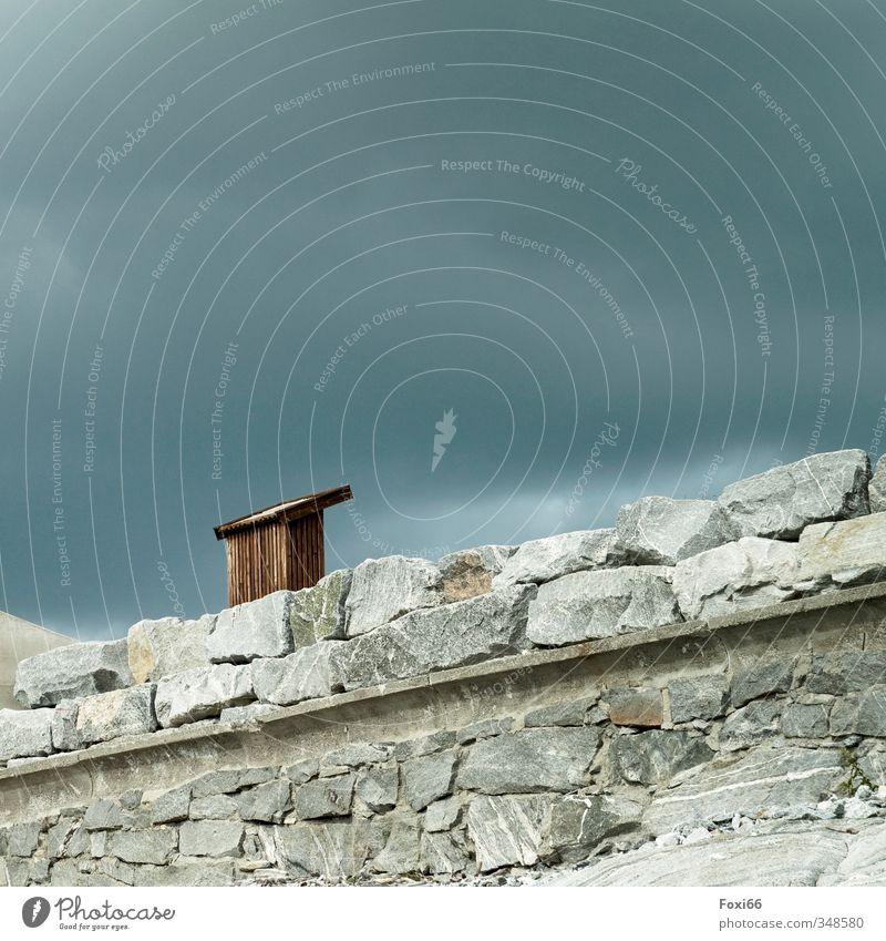 grafisch / Landschaftsgestaltung Himmel Ferien & Urlaub & Reisen blau Sommer Erholung ruhig Wolken Ferne dunkel Umwelt Wand Bewegung Gefühle Küste Mauer grau