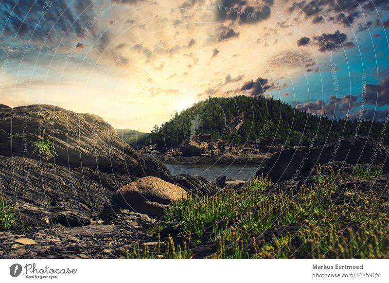 Parc du Bic Kanada Sonnenaufgang Natur Nordamerika Quebec Sonnenuntergang Farbfoto Gesteinsformationen Felsen Landschaft Ferien & Urlaub & Reisen Sommer Wasser