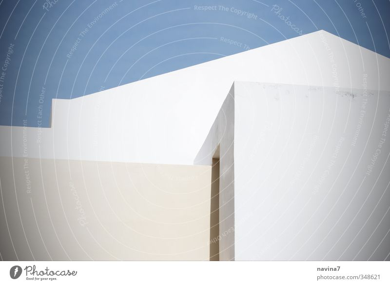 griechische Geometrie blau weiß Erholung Haus Wand Architektur Mauer Gebäude Häusliches Leben modern ästhetisch eckig Griechenland Traumhaus Santorin