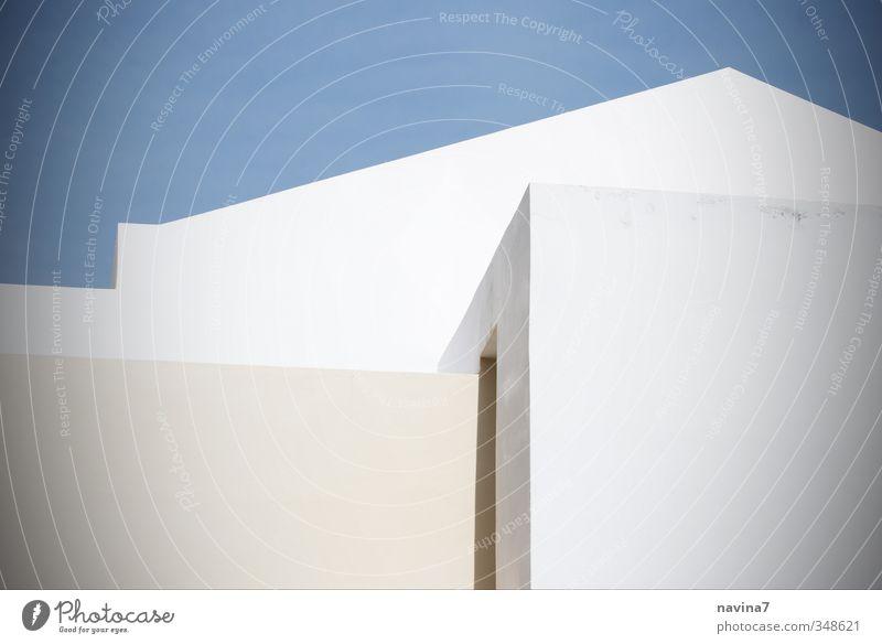 griechische Geometrie Häusliches Leben Haus Traumhaus Architektur Menschenleer Gebäude Mauer Wand eckig modern blau weiß ästhetisch Erholung Griechenland
