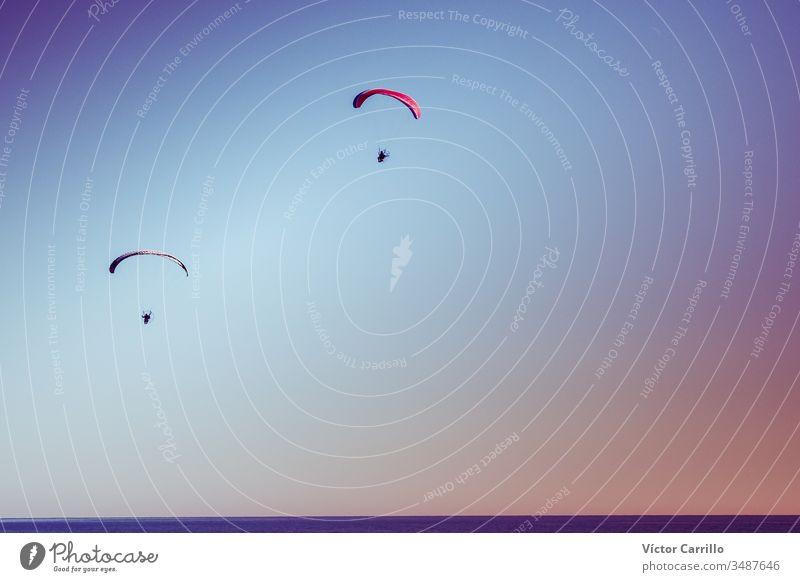Ein Gleitschirmpaar fliegt in einem bunten Himmel Fallschirm Gleitschirmfliegen Sport Fliege extrem Freiheit blau Air Segelfliegen Abenteuer Spaß Aktivität Flug