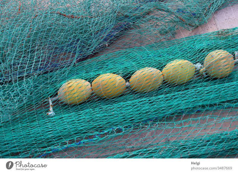 türkisfarbene Fischernetze mit gelben Schwimmkugeln liegen am Hafen Netz Netzwerk Fischerei Fischereiwirtschaft Farbfoto Außenaufnahme Tag Menschenleer