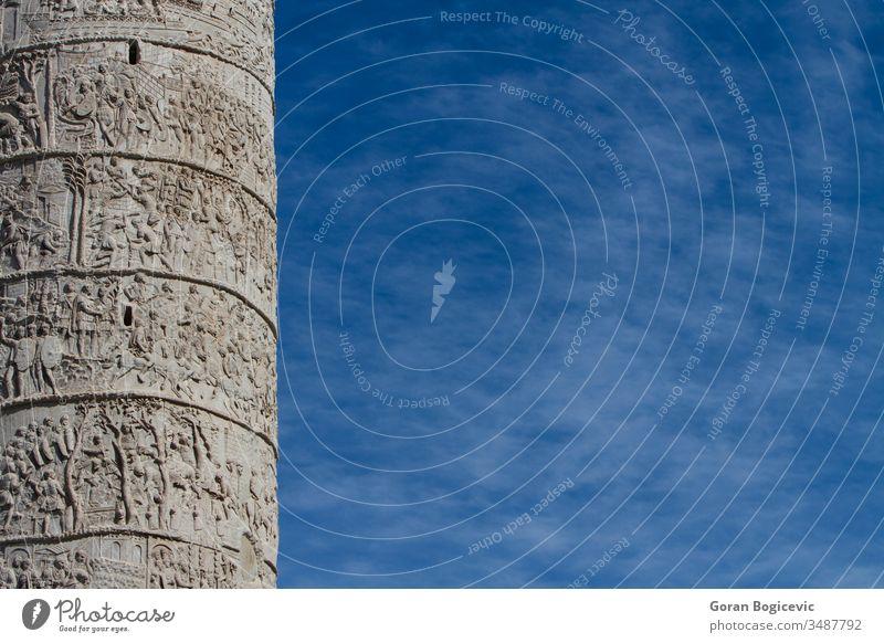 Trajanerkolonne in Rom kaiserlich Spalte Italienisch Bildhauerei kämpfen trajan Krieg Murmel Denkmal Kunst Schlacht vergangen Soldaten Stein Ruine Erbe antik