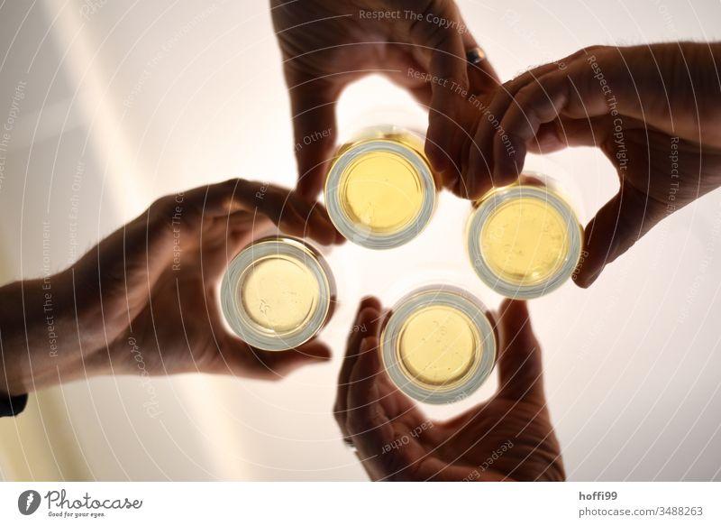 Wiedersehen von vier Hände mit Gläsern - mal wieder Anstoßen ! anstoßen Zuprosten Freundschaft Partystimmung Lifestyle Alkohol Alkoholisiert Treffpunkt Gast