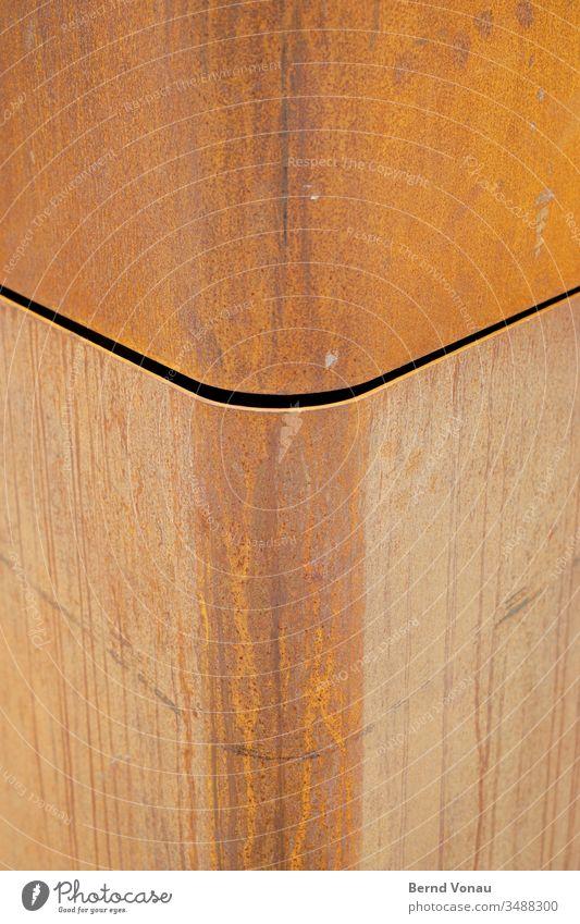 Fassadendetail Cor-Ten© Cor-ten Linie Stahl Rost Kurve Gebäudeteil Witterung modern Fuge Spalte Architektur braun rot Spuren roh