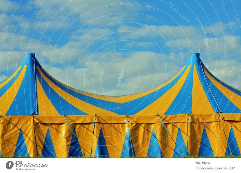 halligalli Lifestyle Freizeit & Hobby Entertainment Veranstaltung Puppentheater Zirkus Show Umwelt Himmel Wolken blau gelb Zelt Varieté Zirkuszelt Streifen Dach