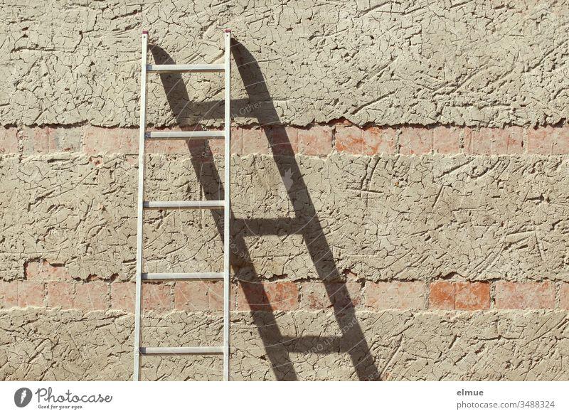 Metallleiter lehnt an einer grob verputzten Mauer und bildet einen Schatten Leiter Karriereleiter Wand Halt Sprosse Halt geben anlehnen Putz stehen nach oben