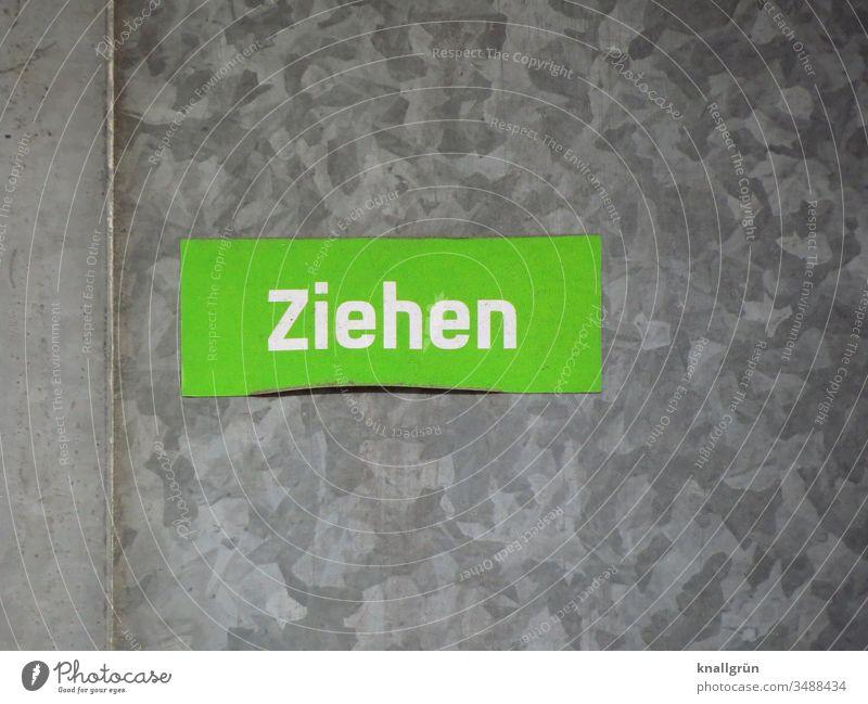Ziehen ziehen Aufkleber Metall Kommunizieren Schilder & Markierungen Hinweisschild Tür Buchstaben Wort Schriftzeichen Typographie Sprache Kommunikation Letter