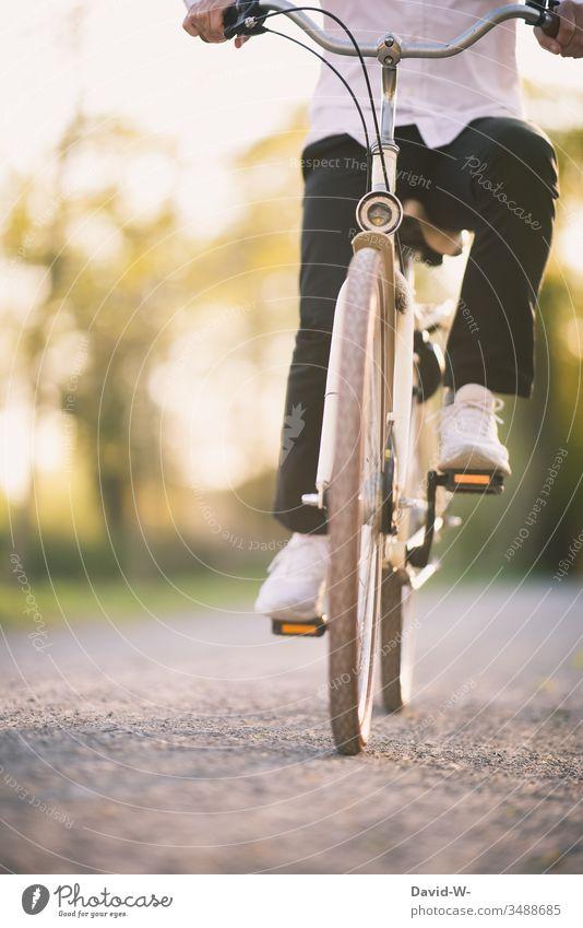 fahrradfahren Mann fährt mit dem Fahrrad durch die Natur und macht eine Fahrradtour Fahrradfahren Sonnenlicht anonym Schönes Wetter spass Freude enstpannung