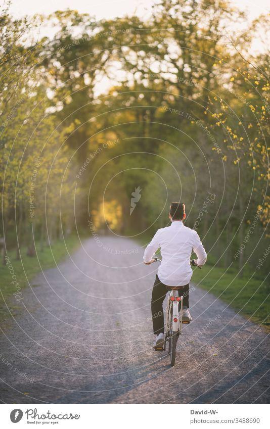 junger Mann fährt mit dem Fahrrad durch die Natur und macht eine Fahrradtour Fahrradfahren Sonnenlicht sommerlich Schönes Wetter spass Freude enstpannung