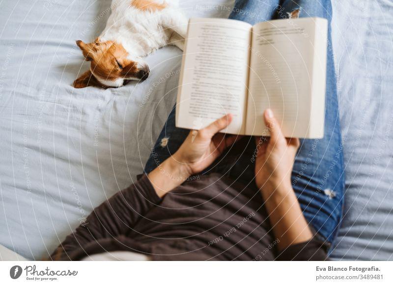 junge Frau und Hund zu Hause auf dem Bett liegend. Liebe, Zweisamkeit und Haustiere im Haus. Frau, die ein Buch liest. lesen heimwärts aussruhen schlafen