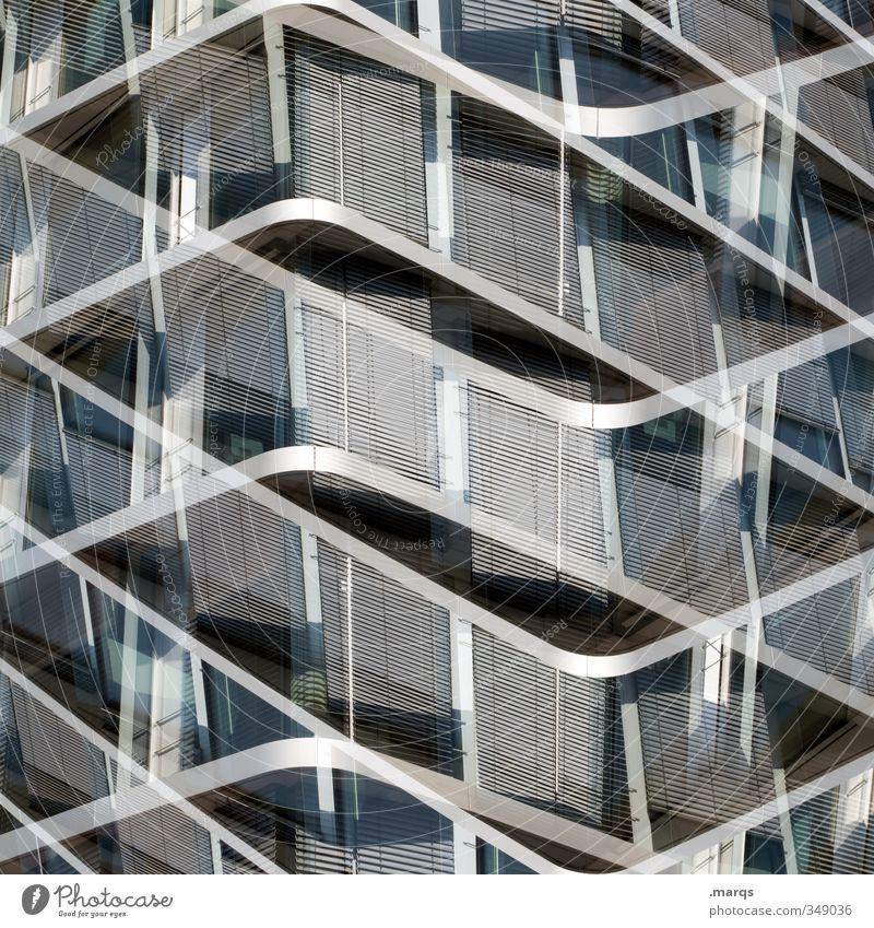 Symmetrisch weiß schwarz Architektur Stil Hintergrundbild grau außergewöhnlich Fassade Metall Design elegant modern Glas ästhetisch Zukunft neu