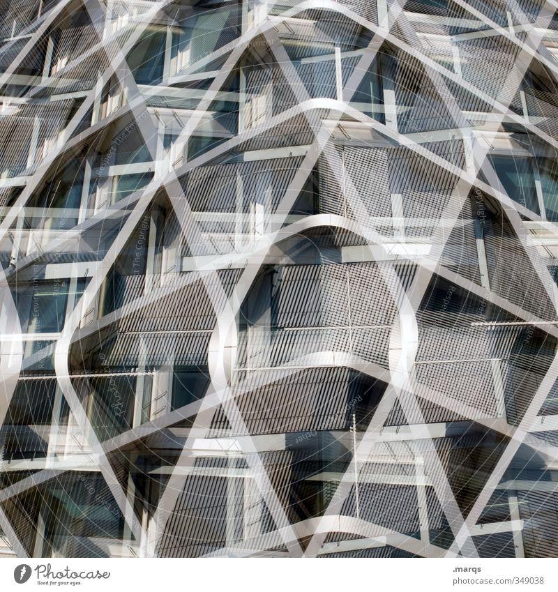 Modernisiert elegant Stil Design Bauwerk Gebäude Architektur Fassade Metall Stahl Linie ästhetisch außergewöhnlich trendy einzigartig modern neu verrückt grau