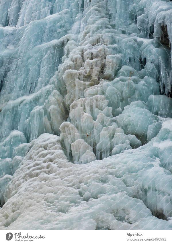 Blumenkohleis Eis Wasserfall kalt Winter Natur Farbfoto Schnee gefroren Außenaufnahme Frost weiß frieren blau gefrorenes Wasser Menschenleer Tag Eiszapfen